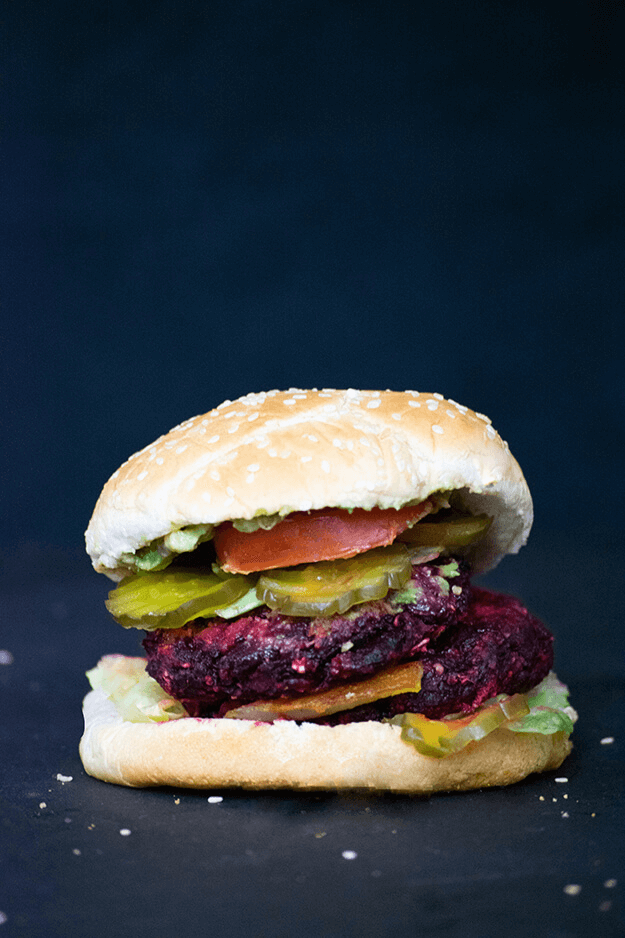 Beetroot vegan burger