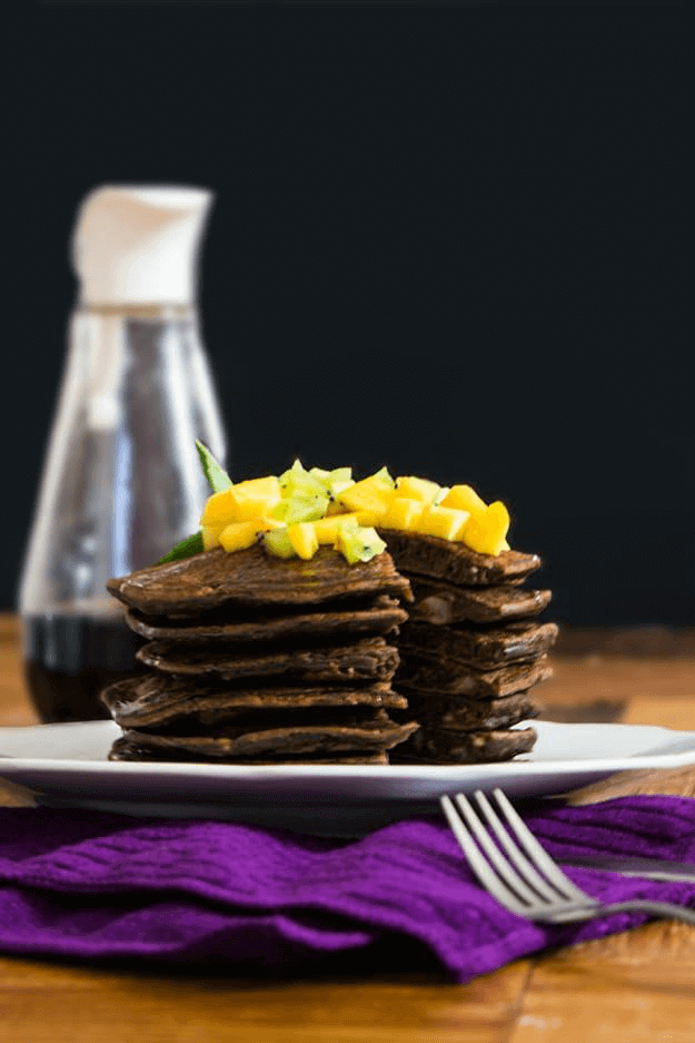 Chocolate vegan pancakes