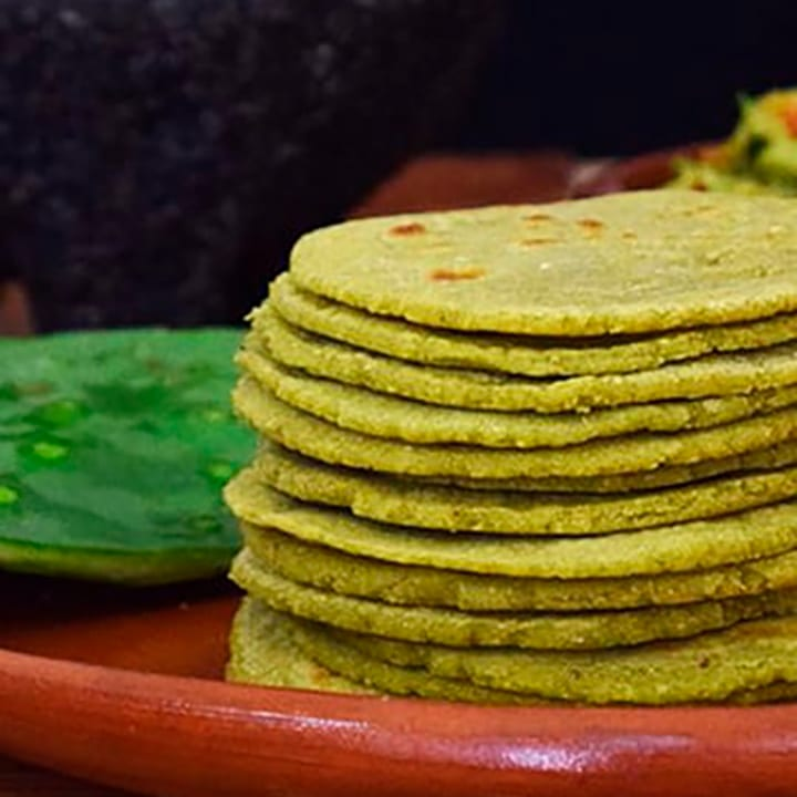 homemade nopal tortillas